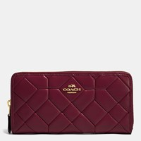 Coach Canyon Quilt Accordion Zip Wallet In Calf Leather Light Gold Burgundy