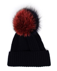 Inverni Ribbed Beanie With Fox Fur Trim Red Navy