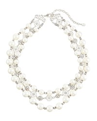 Jose And Maria Barrera Triple Strand Pearly And Crystal Filigree Collar Necklace