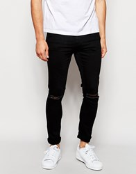 Only And Sons Black Jeans With Rips In Skinny Fit