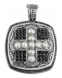 Konstantino Spinel And Pearl Square Cross Pendant Enhancer