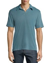 James Perse Short Sleeve Cotton Polo Shirt Turquoise