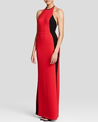 Abs By Allen Schwartz Gown Sleeveless High Neck Halter Waffle Knit Red