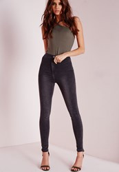 Missguided Petite High Waisted Skinny Jeans Grey Grey