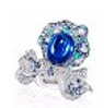 Anna Hu Haute Joaillerie Rose Ribbon Collection Rose Ribbon Ring In Sapphire Blue