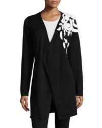 Neiman Marcus Shoulder Embroidered Long Cardigan Black White