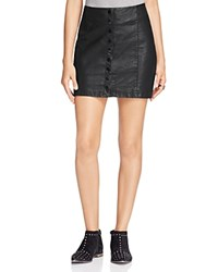 Free People Oh Snap Faux Leather Mini Skirt Black