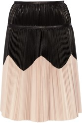 Alexander Mcqueen Pleated Two Tone Leather Skirt Black