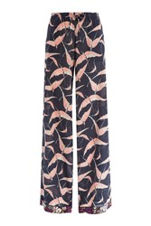 Valentino Printed Silk Wide Leg Pants Multicolor