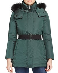 Add Down Belted Fur Trim Coat Deep Green