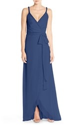 Women's Ceremony By Joanna August 'Parker' Twist Strap Chiffon Wrap Gown Tangled Up In Blue