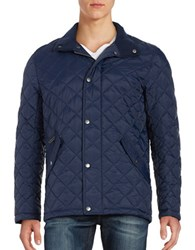 Cole Haan Stand Collar Quilted Jacket Navy