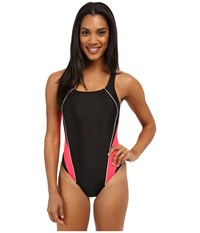 Speedo Solid Pro Lt Drop Back One Piece Black Red Women's Swimsuits One Piece
