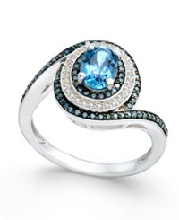 Macy's London Blue Topaz 3 4 Ct. T.W. And Diamond 3 8 Ct. T.W. Swirl Ring In 14K White Gold