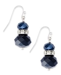 Inc International Concepts Silver Tone Stacked Bead And Crystal Drop Earrings Only At Macy's