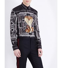 Givenchy Snake Print Slim Fit Cotton Shirt Black