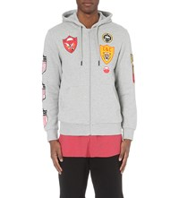 Crooks And Castles Badge Print Jersey Hoody Heather Grey
