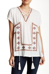 Romeo And Juliet Couture Short Sleeve Embroidered Blouse Beige