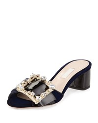 Miu Miu Crystal Buckle Velvet And Patent Slide Blue Black Bleu Nero
