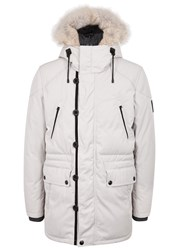 Belstaff Downham Grey Fur Trimmed Shell Parka White