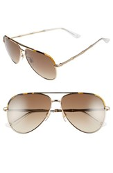 Women's Gucci 59Mm Aviator Sunglasses Gold Brown