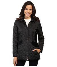 Vince Camuto Quilted Jacket With Velvet Trim L8181 Black Women's Coat