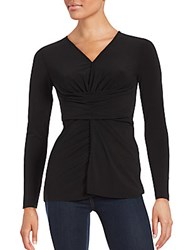 Saks Fifth Avenue Solid Ruched Long Sleeve Blouse Black