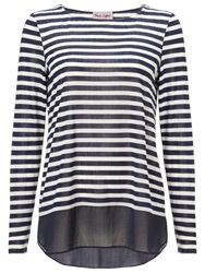 Phase Eight Sandie Stripe Top Navy Ivory