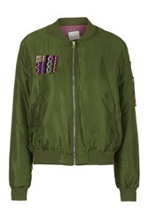 Imagine Embroidered Bomber By Native Rose Khaki