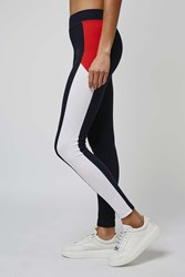 Topshop Ponte Colour Block Leggings Navy Blue