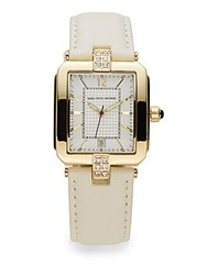 Saks Fifth Avenue Goldtone Stainless Steel White Leather Strap Watch