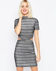 Asos Metallic Stripe T Shirt Mini Dress Silver