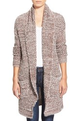 Women's Hinge Marled Long Open Front Cardigan Oatmeal Combo
