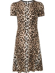 Carolina Herrera Cheetah Print Dress Brown