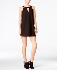 Chelsea Sky Faux Leather Contrast Mini Shift Dress Only At Macy's Black