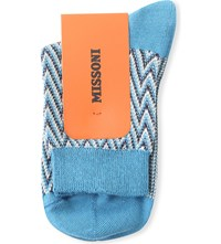 Missoni Zig Zag Patterned Ankle Socks Blue 0003