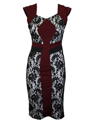 Feverfish Lace Contrast Dress Red