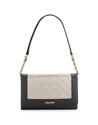 Calvin Klein Quilted Colorblocked Leather Shoulder Bag Black Metallic