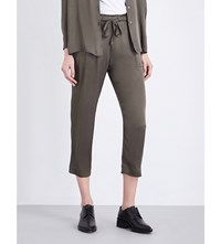 Raquel Allegra Straight Cropped Georgette Trousers Hunter Green