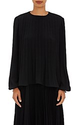 Co Women's Pleated Long Sleeve Blouse Black Blue Black Blue