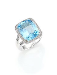 John Hardy Classic Chain Diamond Blue Topaz And Sterling Silver Ring Silver Blue Topaz