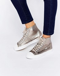 Gola Coaster Metallic High Top Trainer Pewter Pewter Copper