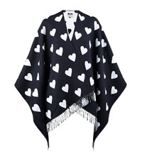 Burberry Shoes And Accessories Love Heart Merino Wool Poncho Female Navy