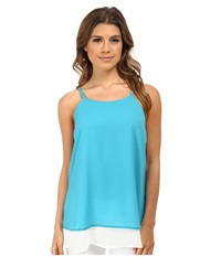 Gabriella Rocha Double Layer Camisole Aqua White Women's Sleeveless Blue