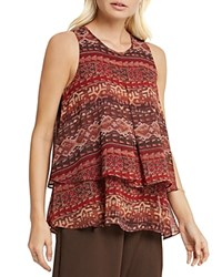 Bcbgeneration Tapestry Print Tiered Tank Coffee Bean Combo