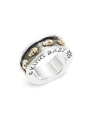 King Baby Studio 18K Yellow Gold And Sterling Silver Skull Ring