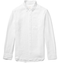 Club Monaco Slim Fit Button Down Collar Linen Shirt White