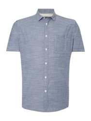 Label Lab Clovis Fine Stripe Short Sleeve Shirt Blue Surf