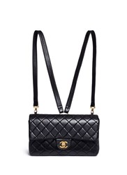 Wgaca Vintage Chanel Quilted Lambskin Leather 2.55 Backpack Black