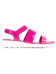 Moncler Flat Strappy Sandals Pink And Purple